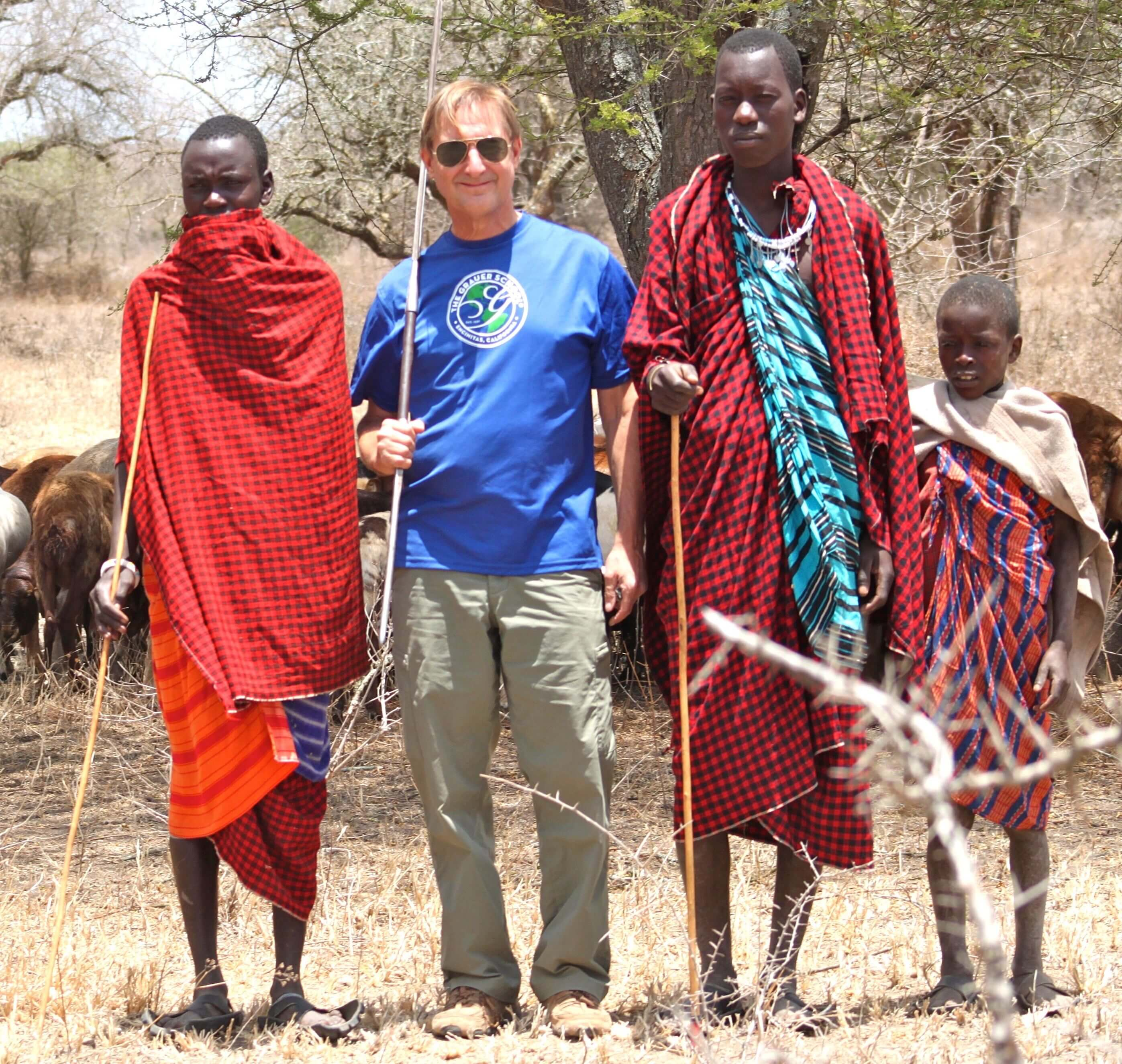 Dr. Grauer and the Maasai herdsmen
